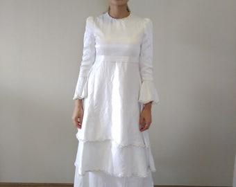 Vintage White Satin Wedding Dress