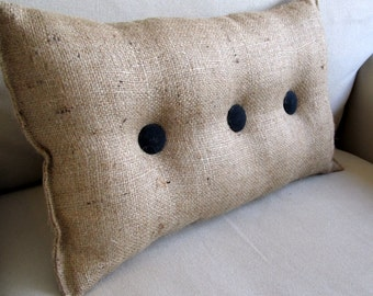 lumbar style 11x19 Burlap Pillow with black organic cotton duck buttons