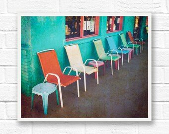 Street photography prints, large photo prints, vintage wall decor, bright wall art, colorful print bright photography, aqua photos of chairs