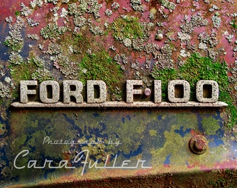 Ford F100 Emblem on a moss covered Truck Photograph