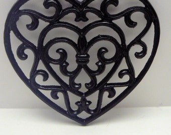 Heart Cast Iron Trivet Hot Plate Black Fleur de lis FDL French Country Chic Kitchen Decor