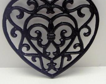 Heart Cast Iron Trivet Hot Plate Classic Black Ornate Swirly Heart Shaped Fleur de lis Center French Country Decor