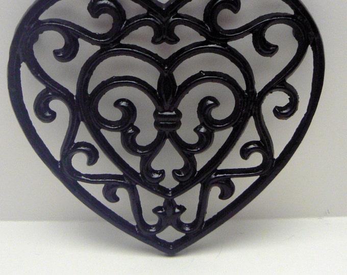 Heart Cast Iron Trivet Hot Plate Black Fleur de lis FDL French Country Chic Kitchen Decor