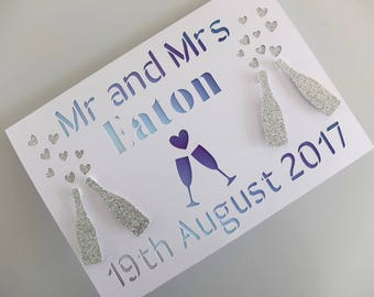 Personalised Wedding  Card, Wedding Card with Names, Wedding Card, Custom Made Wedding Card, Marriage Card with Names and Date, Mr and Mrs