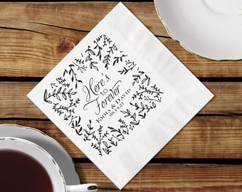 Personalized Napkins Wedding, Cocktail Napkins, Botanical Border, Personalized Beverage Napkins, Napkin And Imprint Color Options Available
