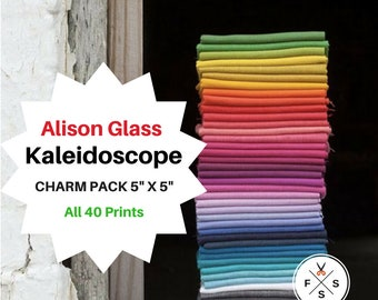 """NOW IN STOCK Alison Glass Kaleidoscope Precut 5"""" Charm Pack Fabric Quilting Cotton Squares Andover"""