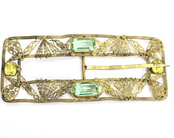 """Antique Victorian Gold Buckle Hat Ornament Green & Citrine 4 3/4"""" Long Gold Filigree Jewelry"""