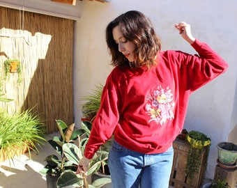 Red Velour Sweater with Flower Embroidery