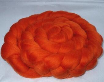 Merino roving, wool roving, roving wool, merino spinning fiber, merino felting wool, dread wool, dolls hair,dreads,20mic,ORANGE, 3.5oz, 100g