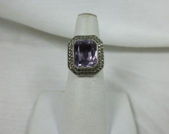 Art Deco Sterling and Amethyst and Marcasite Ring