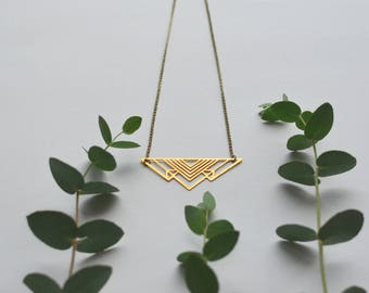 triangle necklace geometric fashionable brass without nickel