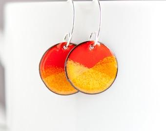 Bright Orange Enamel Earrings, Glass on Copper, Handmade Sterling Silver Ear Wires, Torch Fired, Bold Earrings, Happy Jewelry, Confidence