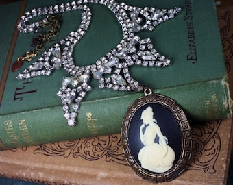 Cameo Rhinestone Bib Necklace Upcycled Vintage Victorian Assemblage Steampunk Jewelry
