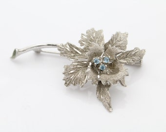 Unusual Sterling Silver and Blue Crystal Flower Brooch w Trombone Clasp. [6361]