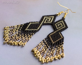 Etno Earrings Black and Gold