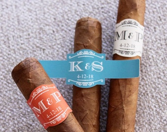 Set of 20 Personalized Elegant Two Initials Cigar Stickers (PEMCG59)