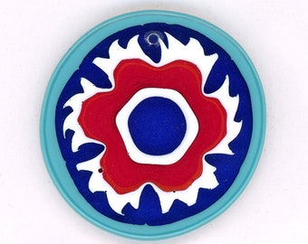 Vintage Venetian Murrine Pendant Bead 32mm Round Floral Design Cobalt Blue Glass Accent