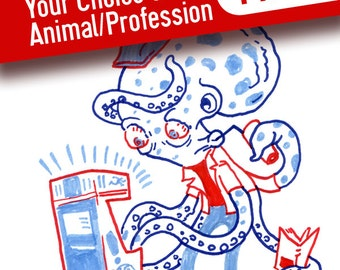 "Animal Professions Illustration Print single- pick from listing or random, 4.25x5.5"", Animals in clothing"