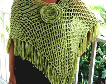 Crochet Shawl Green Shawl  Wrap Citron Lime Flower Pin Netted Spring Cover Up