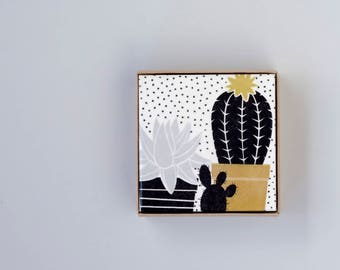 Cactus and Succulent Coasters, Modern Botanical, House Plant Coasters, in Neutral Colors Black Grey Gold with Dots