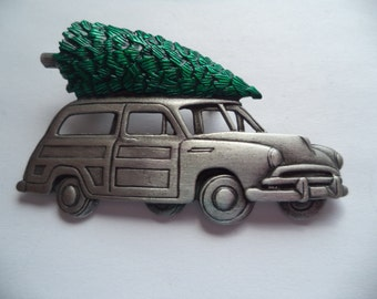 Vintage Signed JJ Silver pewter Old Woody Taking Home the Christmas Tree Brooch/Pin