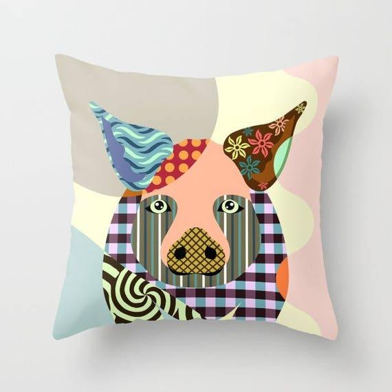 Pig Pillow, Pig Gifts, Pig Art, Pig Decor,  Pig Painting, Piggy Prints,  Animal Pillow, Pig Print, Animal Portrait