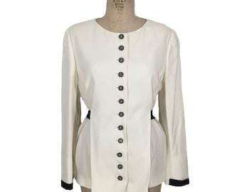 Jahrgang 1980 FENDI Jacke / weiß Elfenbein schwarz / Knopf vorne / satin Gürtel / Damen Vintage Jacke / tag Größe 10