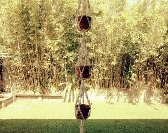 Three Pot Hemp Macrame Plant Hanger