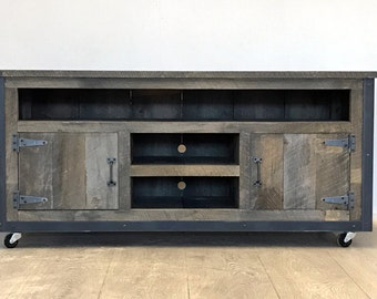 """Rustic Industrial weathered barn board entertainment center TV stand Reclaimed Wood 52"""""""