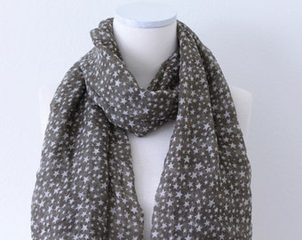 Soft Long Wrap Scarves/Star Print Scarf/Gray and White/Spring Summer Scarf/Lightweight Women Scarves