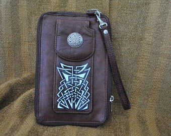 Oversized Genuine Leather Wallet, Reimagined w/Custom Celtic Knotwork Conchos by Wes Connell Reddish Brown, w/Black, White, & Silver artwork