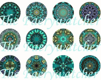 One Inch Midnight Glow Kaleidoscope Magnets, Flatbacks or Pins 12 Ct.