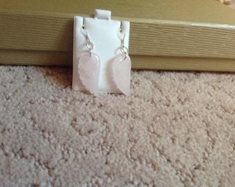 Rose Quartz Angel Wing Earrings
