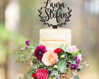 Personalized cake topper, rustic cake topper, wedding cake topper, wooden cake topper, names cake topper, custom topper, your wood choice