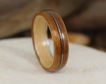 Cherry and Sycamore Bent Wood Ring with a Guitar String Inlay Band, Handmade to Any UK or US Size, Guitar String Ring, Bent Wood Band