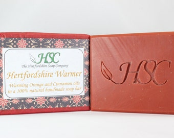 Handmade Soap Bar with Cinnamon, Orange, Cedarwood, Clove & May Chang Essential oils. Warming Winter Soap. 100% Natural Ingredients.