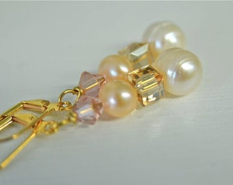 Pearl Earrings White Earrings Peach Earrings Pink Earrings Ready to Ship