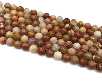 1Full Strand Petrified Wood Round Beads,8mm 10mm Wholesale Petrified Wood Gemstone For Jewelry Making