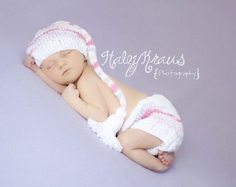 Download PDF knitting pattern k-04 - Knit Newborn Long tail hat and diaper cover