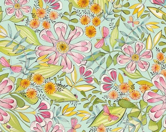 American cotton fabric - Blend Fabric - designer Cori Dantini - blue Garden - by 50 cm (110 x)