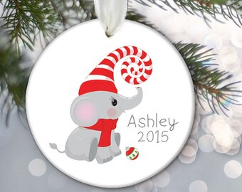 Elephant Christmas Ornament, Personalized Kids Christmas Ornament, Kids gift, Child's ornament Jungle Animal Ornament OR682