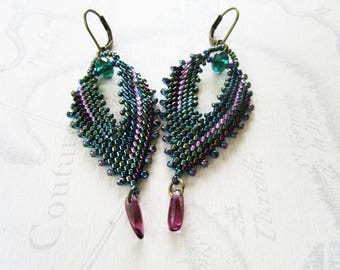 woven key shaped leaves, green/Emerald/purple color, drop Amethyst