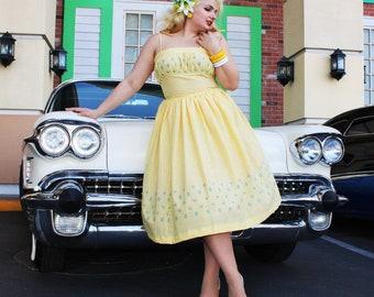1950s Isabella Vintage Replica Gingham Spaghetti Strap Dress Custom Made by Retro-Verte