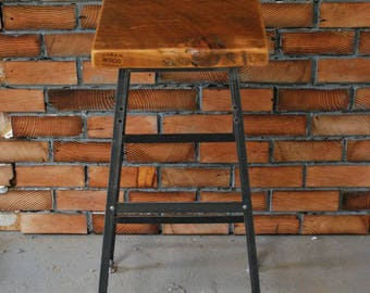 """2 Reclaimed Wood and Steel Industrial Shop Stools. Made in Chicago. Qty (2) 25"""" counter height - QUICK SHIPPING"""