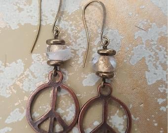 Copper peace earings