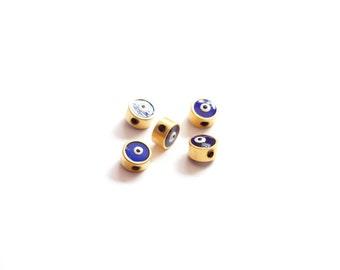 5pcs Matte Gold Plated Dark Blue Enamaled Evil Eye Bead-5x1mm (016-035GP)