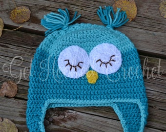 Child/Toddler Crochet Owl Hat, Owl Hat, Owl Beanie, Owl Earflap Hat, 1-3 Years