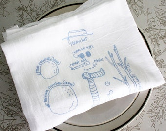 Snowman diagram tea towel - white cotton floursack kitchen towel