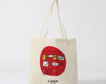 X410Y Tote bag bus London, bag canvas, cotton bag, diaper bag, purse, tote bag, shopping bag, bag of course, shopping bag
