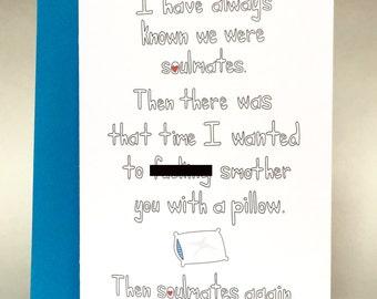 valentines day card, funny valentines day, anniversary card, sarcastic love, boyfriend card, husband card, wife card, funny anniversary